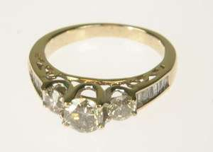 LADIES 14K YELLOW GOLD DIAMOND 3 STONE ESTATE RING 164165