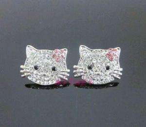 Large Hello Kitty pink flower crystal earring earbob E21
