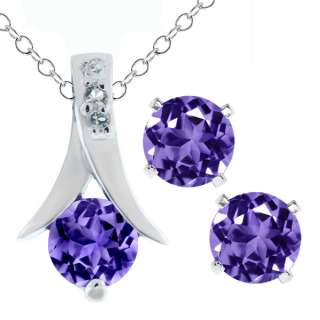 25 Ct Round Purple Amethyst .925 Silver Pendant and Earrings Set 18