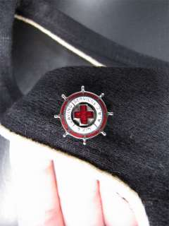 1930s Black Wool Swimsuit LSS Red Cross Patch ARC Pin