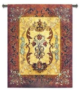 OLD WORLD TUSCAN LEAF MOTIF ART TAPESTRY WALL HANGING