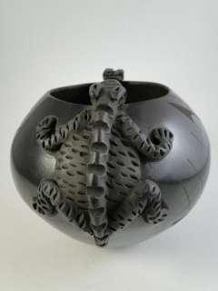 Vintage Mata Ortiz Fabiola Quezada Lizard Art Pottery Bowl Pot Dish