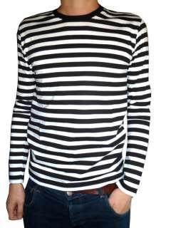 tee black white nautical indie mod Top striped preppy 60s