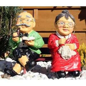 Oma und Opa auf Bank Deko Innen und Außen: .de: Garten