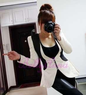 Womens Vtg Elegant OL Quality Slim Fit Peplum Zip Tuxedo Blazer Jacket
