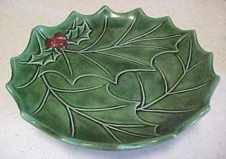1969 Holland Mold Ceramic HOLLY PEDESTAL DISH