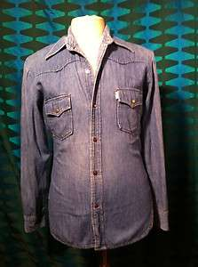 LEVI`S 1960`S BIG E BLUE FADED DENIM SHIRT COLT 45 STUDS 38 CHEST