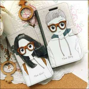 APPLE IPHONE 4G Diary Flip Case Cover BOY&GIRL+Cleaner