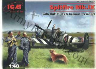 Scale 148 Airplane Model Kit Spitfire Mk IX 9 with RAF Pilots Ground