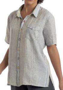 FLAX 2010 Linen UPDATED CAMP Shirt Top P S M L pk COLOR
