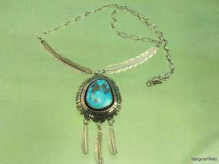 PRE OWNED NAVAJO 925 STERLING SILVER TURQUOISE FEATHER NECKLACE