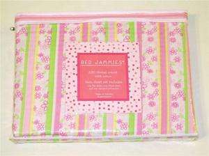NIP BED JAMMIES TWIN SHEET SET PINK FLOWERS AND STRIPES