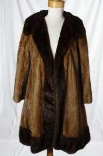Vintage Glamour Mocha Chocolate Brown Swing Real Mink Fur Coat Jacket