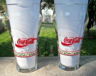 COCA COLA COKE SANTA CLAUS CHRISTMAS GLASSES 16 OZ
