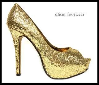 Womens Gold Glitter High Heels Shoes Size 3,4,5,6,7,8