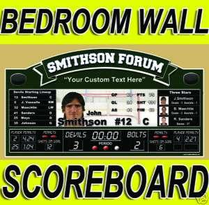 Custom Hockey Scoreboard Bedroom Wall Decor Art Helmet