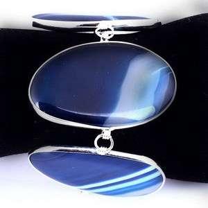blue white veins link unisex adjustable bangle bracelet