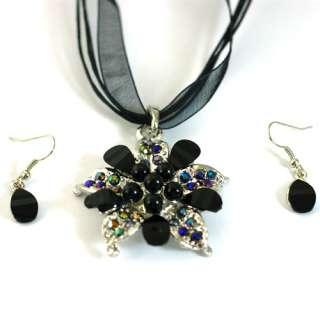 Stylish Voile Flower Gemstone Necklace Pendant Earrings Set Jewelry
