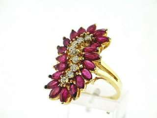 17 CT Ruby & Diamond Ladys Ring VS/G 14K Yellow Gold
