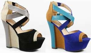 Color Block Criss Cross Open Toe Platform Wedge Spring Sandal Pebbles