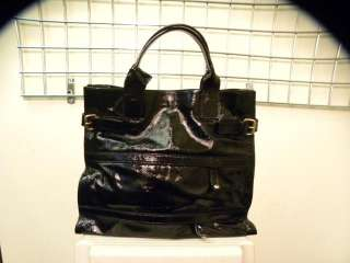 YVES SAINT LAURENT Black Patent Leather Large Tote Bag