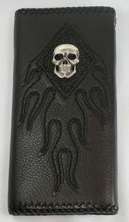 SILVER SKULL GENUINE STINGRAY SKIN LEATHER MENS WALLET