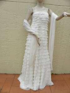TADASHI PLEATED IVORY WEDDING GOWN DRESS & SHAWL NWT 14