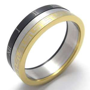 Mens Gold Black Silver Tone Stainless Steel Ring US Size 9 US12021109