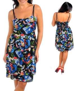 WOMANS PLUS SIZE FLIRTY BLACK AND BLUE FLORAL SUN DRESS 2XL 18/20 NEW