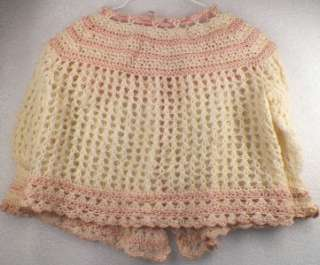 Adorable Little Girls IVORY & PINK CROCHETED SWEATER Vintage 1950s Era