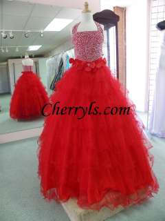 TIFFANY GLITZ 33401 Red Size 10 GIRLS NATIONAL PAGEANT DRESS WINNING