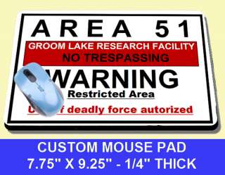 AREA 51 GROOM LAKE WARNING SIGN RESEARCH MOUSE PAD UFO