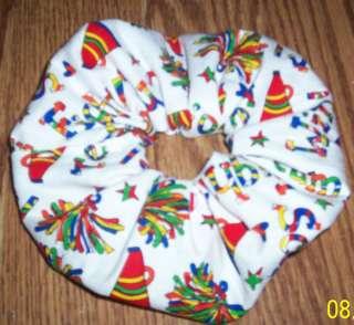 Handmade Cheer White Design Fabric Hair Scrunchie/FS