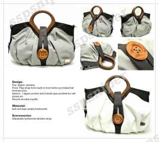 New High Quality Wooden Handle Button Women Shoulder Bag Handbag (2