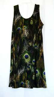 PLUS 2X & 3X KNEE LENGTH MULTI COLORED PEACOCK FEATHER DRESS