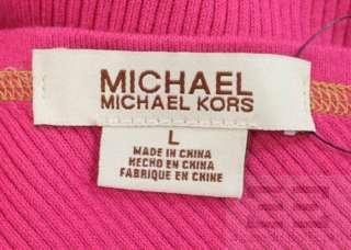 Michael Kors Hot Pink 2 Pc Knit Gold Trim One Shoulder Top & Skirt Sz