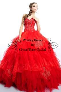 Glamorous Ball Wedding Bridal Gown Quinceanera Long Evening Prom