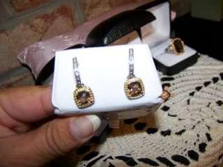 AVON Sterling 18K Genuine Smoky Quartz Diamond Earrings Pierced