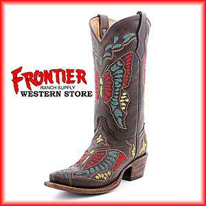 Corral Ladies Teen Butterfly Multi Color Cowgirl Boots A1030