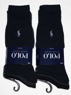 POLO RALPH LAUREN mens dress socks 6 pairs BLACK /N/G