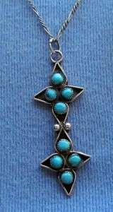 INDIAN STERLING SILVER TURQUOISE PENDANT SNAKE EYE WESTERN 8 STONES