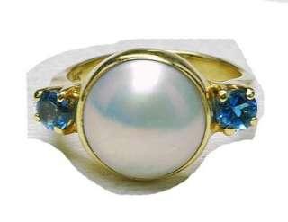 Estate 14k Yelow gold Mabe Pearl Blue Topaz Ladies Ring
