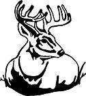 Deer in Grass Hunting decal / Sticker 6 x 6.5 WHITE DECAL