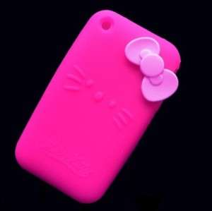 Pink Hello Kitty Silicone Cover Case For iphone 3G 3GS