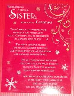 LOVING MEMORY GRAVESIDE MEMORIAL CHRISTMAS CARD SISTER