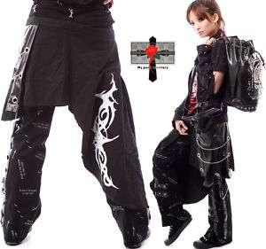 JROCK Visual Kei DRAGON TATTOO 2Way Punk Emo Cape Pants