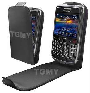 BLACK LEATHER FLIP CASE COVER FOR BLACKBERRY BOLD 9700