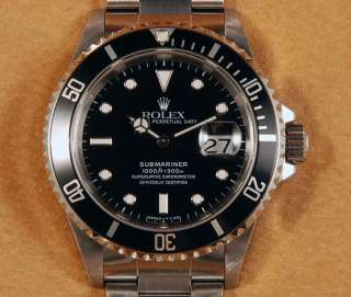Mint* Mens Rolex Submariner 16610 Black Dial Watch #02656