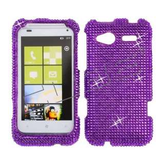 Hot Purple CRYSTAL RHINESTONE DIAMOND BLING COVER CASE 4 HTC Radar 4G