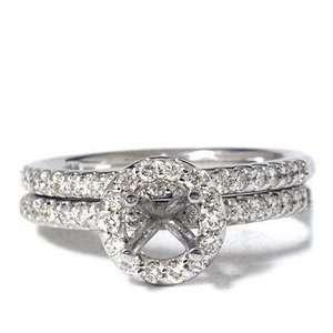 Pave Halo Round Diamond Engagement Ring Wedding Band Mount Setting 14K